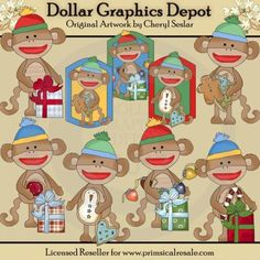 Silly Sock Monkeys - Christmas - Clip Art