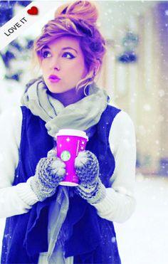 winter wonderland... cutest girl and hair ever + mittens + vest