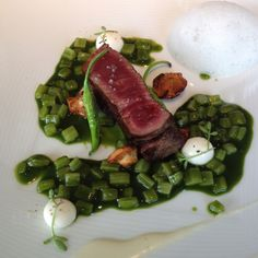 "Grilled sirloin ""Luismi"" over a bed of Swiss chard chlorophyll and cheese bonbon - @martinberasategui"