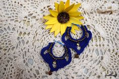 Blue loop beaded crochet earrings