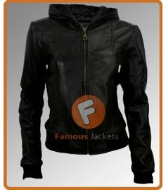 Women Black Hooded Leather Jacket