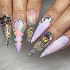 Beautiful nails by Ugly Duckling Family Member Ugly Duckling Nails page is dedicated to promoting quality, inspirational nails created by International Nail Artists Purple Nails, Bling Nails, Stiletto Nails, Beautiful Nail Designs, Cute Nail Designs, Pedicure Designs, Gorgeous Nails, Pretty Nails, Nails Inc