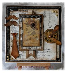 Handcrafted Cards, Altered Art and other little creations. Vintage Paper Crafts, Masculine Cards, Vintage Cards, Handmade Cards, Albums, Mixed Media, Card Making, Scrapbooking, Scrapbook