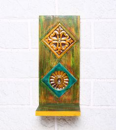 Turquoise Blue & Mustard Rubber Wood Stand #indianroots #homedecor #decor #stand #walldecor #wood
