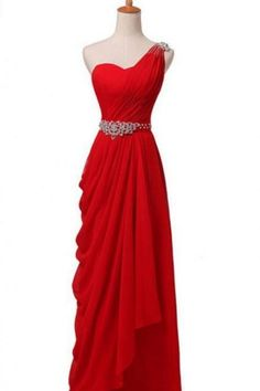 Elegant Pleated Dress, One-shoulder Red Dress, Long Party Dress Party Wear Dresses, Sexy Dresses, Party Dress, Formal Dresses, Homecoming Dresses, One Shoulder Prom Dress, Lace Evening Dresses, Dress First, Chiffon