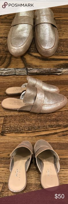 Silver slip on backless loafers size 6 NEW Brand new Lord & Taylor branded slip ons. These were samples so do not have a box and are also stamped with sample in bottom. Lord & Taylor Shoes Flats & Loafers