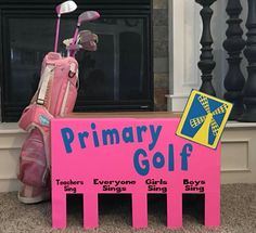 Primary golf I just picked up a box from the UPS Store and measured out the holes. I used a silhouette to cut out all the wording and the little windmill image. Primary Program, Primary Songs, Primary Singing Time, Primary Activities, Lds Primary, Primary Lessons, Music Activities, Primary Colors, Music Education Lessons