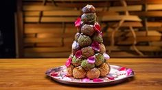 Pistachio and Coffee, Cardamom and Chocolate Croquembouche