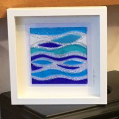 Glass Seascape Wall Hanging Abstract Sea Inspired Glass Art Home decor Wall Art Gift for her wedding gift 17/17 & Glass Fishy Wall Hanging Fish Inspired Glass Art Seaside Home ...