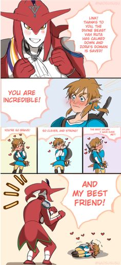 Prince Sidon is so encouraging and Link is so cute! ~Breath of the Wild.