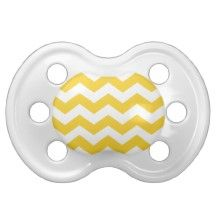 Trendy Chevron Yellow and White Stripes Baby Pacifiers