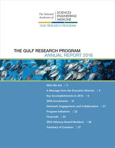 The Gulf Research Program Annual Report 2016 Continental Shelf, Capacity Building, Environmental Studies, National Academy, Academy Of Sciences, Research And Development, Gulf Of Mexico, Oil And Gas, Assessment