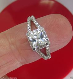 Real Solid 14K Gold Princess Brilliant cut halo Engagement ring double shank