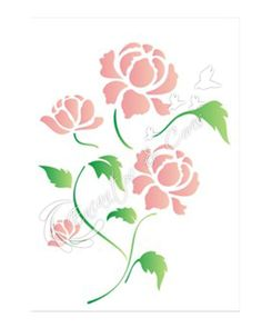 STENCIL SIMPLES 15X20 FLOR PEONIA OPA1317