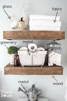 home decor styles Tips for styling vignettes like a designer using simple decorating rules for mantels, tabletops, shelves, dresser tops, and nightstands. Diy Bathroom, Rustic Bathroom Decor, Farmhouse Decor, Bathroom Ideas, Bathroom Cabinets, Master Bathrooms, Remodel Bathroom, Small Bathroom, Neutral Bathroom