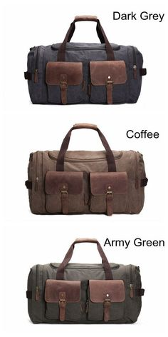 853ffd83c5dd Canvas Leather Overnight Duffle Bag Canvas Travel Tote Duffel Weekend Bag  Luggage AF14