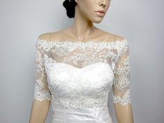Off-Shoulder Alencon Lace Bridal Bolero Wedding jacket
