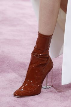 Image of 2018 Autumn Winter European American fashion show catwalk square toe zi. - Image of 2018 Autumn Winter European American fashion show catwalk square toe zipper ankle boots genuine leather transparent chunky boots Source by pi. Sock Shoes, Cute Shoes, Me Too Shoes, Shoe Boots, Ankle Boots, Shoes Heels, Boot Heels, High Heels, Dress Shoes