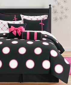 Another great find on #zulily! Pink & Black Sophie Comforter Set by Victoria Classics #zulilyfinds