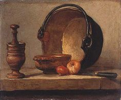 Learn more about Still Life with Pestle, Bowl, Copper Cauldron, Onions and a Knife Jean-Baptiste-Simeon Chardin - oil artwork, painted by one of the most celebrated masters in the history of art. Baroque Painting, Jean Baptiste, Virtual Museum, Paul Cezanne, Hyperrealism, Still Life Art, Painting & Drawing, Onion, Sculptures