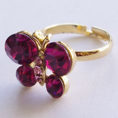 Butterfly shape golden ring with red crystal http://enewmall.com/women-rings/