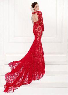 Elegant Lace & Tulle Bateau Neckline Mermaid Formal Dresses #selectprom