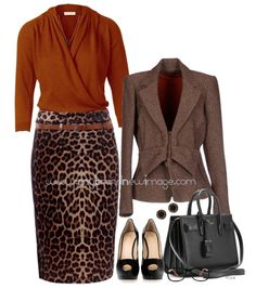 Live out your 'wild side' in this cheetah print knee-length pencil skirt. Keep the rest of the outfit classy and lady-like with this cross-over knit top, tweed blazer, peep-toe plateau pumps and le...