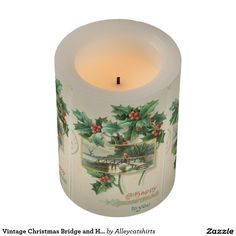 Vintage Christmas Bridge and Holly Flameless Candle