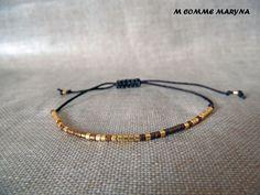 NOUVEAUTÉ Bracelet d'amitié réglable en perles Miyuki delicas Marron et doré Minimalisme Bohochic Bohemian Bohostyle : Bracelet par m-comme-maryna