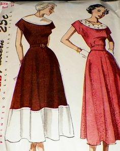 Sewing Pattern 1940s Vintage Dress Size 16 by hookandneedlepattern, $12.00