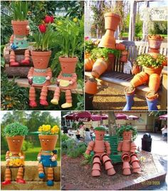 clay pot crafts for the garden | Diy Projects: DIY Clay Pot Flower People