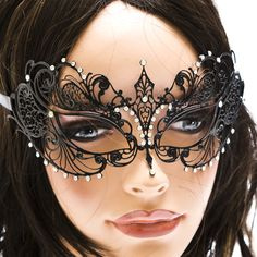 Black Laser Cut Venetian Half Mask