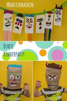 Monstermasken aus Papiertüten - Dekorationen für den Kindergeburtstag
