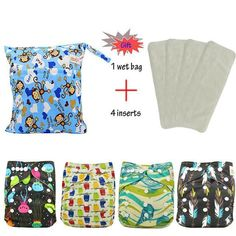 4 Pack Cloth Diapers + 4 X 3 Layer Microfibre insert Best Cloth Diapers, Wet Bag, Baby Skin, Layers, Packing, Cute, Gifts, Bags, Clothes
