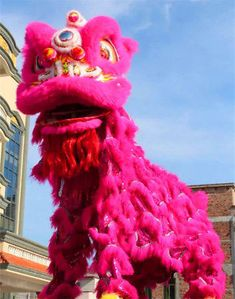 Lion Dance mascot Costume wool Southern pink Lion Chinese Folk art For two adult Chinese Lion Dance, Paper Cut Design, Dragon, Foo Dog, China, Mascot Costumes, 4th Of July Wreath, Paper Cutting, Folk Art