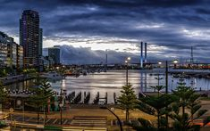 Download wallpapers Melbourne, sunset, bay, skyscrapers, cityscape, Australia