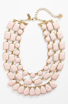 Nice! The pastel pink stones are gorgeous on this statement piece. Will wear this Kate Spade necklace with a v-neck top.
