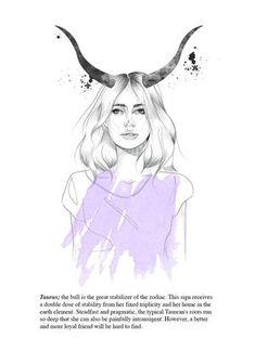 Items similar to Taurus astrology illustration // portrait // fashion print // horoscope // zodiac series // antlers // personalized on Etsy Taurus Art, Astrology Taurus, Taurus Quotes, Zodiac Signs Taurus, Taurus Woman, Taurus And Gemini, Zodiac Art, Taurus Memes, Taurus Bull