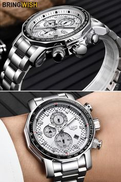 Cool Chronograph Stainless Steel Men's Watch FOR SALE. The perfect gift for him Latest Watches, Watches Online, Perfect Gift For Him, Gifts For Him, Mens Watches For Sale, Stylish Watches, Stainless Steel Watch, Watch Brands, Men's Collection