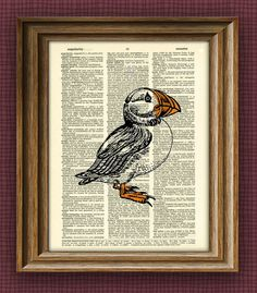 Puffin Art Print over an upcycled vintage dictionary page book art. $7.99, via Etsy.