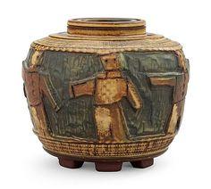A Wilhelm Kåge Farsta stoneware jar, Gustavsberg Studio, 1960. Height 9,5 cm.. - Modern Autumn Sale, Stockholm 569 – Bukowskis