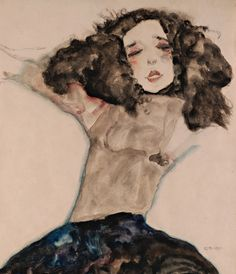Egon Schiele - Black-Haired Girl with Lifted Skirt, fragment