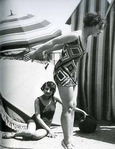 """Model wearing swimsuit designed by Sonia Delaunay, photo by Luigi Diaz for Presse Paris, in ""Color Moves: The Art and Fashion of Sonia Delaunay"". She brought textiles put in costumes, created rebellion for costumes."