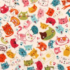 white cat animal colorful face cotton fabric  1