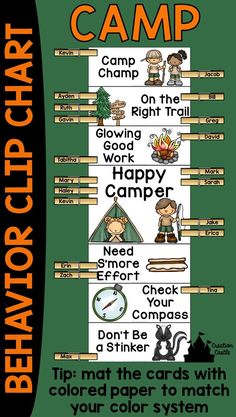 "This camp theme behavior clip chart will encourage your campers to have ""Camp Champ"" behavior and climb to the top of the chart! Behavior clip charts are a great tool, allowing campers and counselors to keep track of misbehavior or outstanding behavior. Classroom Design, Kindergarten Classroom, Future Classroom, Classroom Themes, Classroom Organization, Classroom Management, Classroom Camping Theme, Camping Room, Behavior Management"