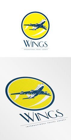 Wings International Travel Logo. Logo showing illustration of a commercial jet plane airliner taking off flying viewed from high angle set inside circle on isolated background done in retro