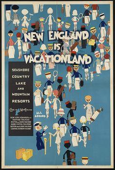 Vacationland New England Vintage Poster Art