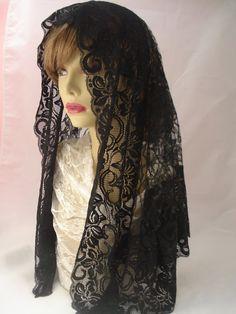 black floral lace mantilla