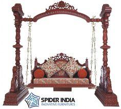 Teak wood carved swing