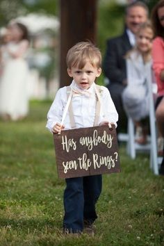 "Cute ring bearer sign idea - wooden sign with ""has anyone seen the rings?"" {Mandy Owens Wedding Photography}"